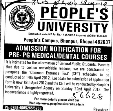 PG Medical and Dental Courses (Peoples University)