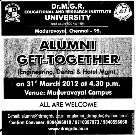 Alumni Association 2012 (Dr MGR Educational and Research Institute University)