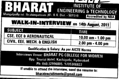 Faculty for BTech Coursew (Bharat Institute of Engineering and Technology (BIET) Mangalpally)