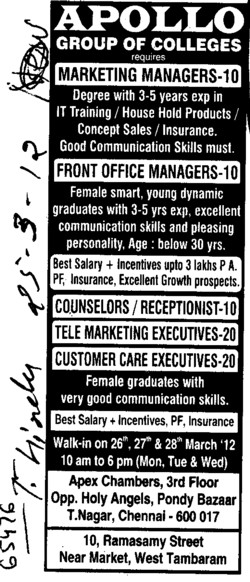 Marketing Managers and Front Office Managers (Apollo Group of Colleges)