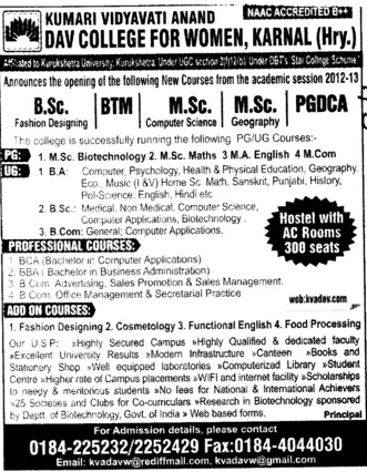 MSc, PGDCA and BSc Courses etc (Kumari Vidyavati Anand DAV College for Women)