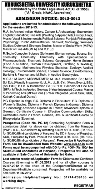 MA, MSC and MCA Courses etc (Kurukshetra University)