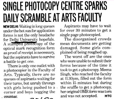 Single Photocopy Centre sparks daily scramble at arts faculty (Delhi University)