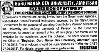 Operating Contributory pension scheme (Guru Nanak Dev University (GNDU))