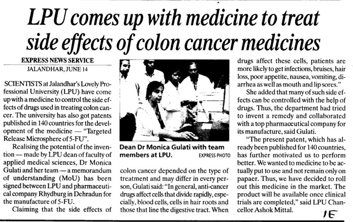 LPU comes up with medicine to treat side effects of colon cancer medicines (Lovely Professional University LPU)