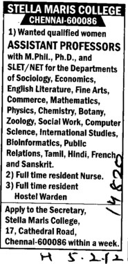 Asstt Professor for various streams (Stella Maris College)
