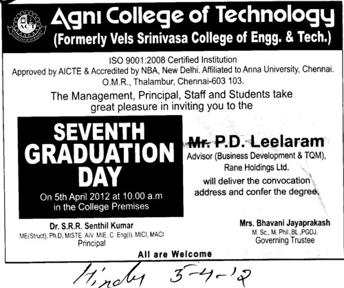 7th Graduation Day (Agni College of Technology)