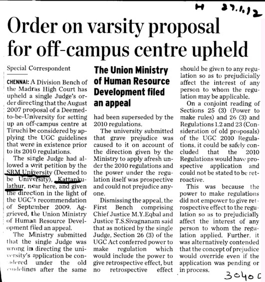 Order on varsity proposal for off campus centre upheld (SRM University)