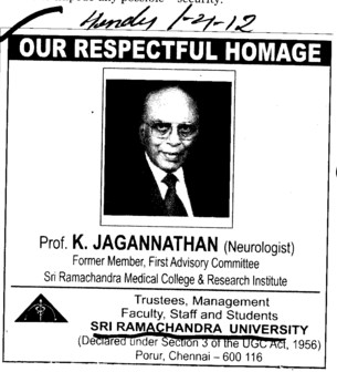 Respectful Homage Prof K. Jagannathan (SRM University)