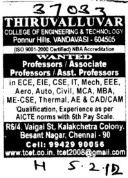 Prof, Asstt Prof, Associate Professor etc (Thiruvalluvar College of Engineering and Technology)