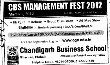 CBS Management Fest 2012 (Baba Khajandas College of Mangement Technology)