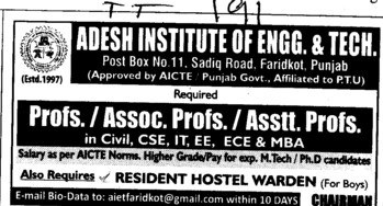 Prof, Asstt Prof and Associate Professor (Adesh Institute of Engineering and Technology (AIET))