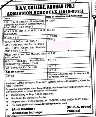 BSc, BCA, BBA and PGDCA Courses etc (DAV College)