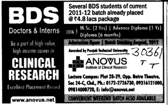 BDS in Clinical Research (IK Gujral Punjab Technical University PTU)
