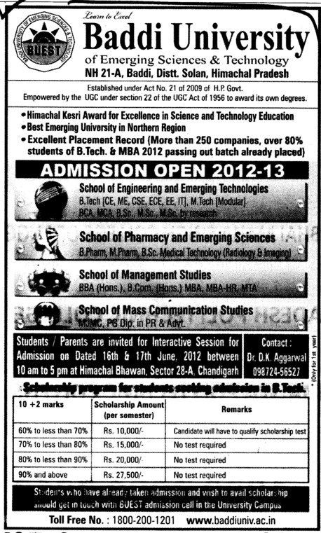 BTech, B Pharma and BBA Courses (Baddi University of Emerging Sciences and Technologies)