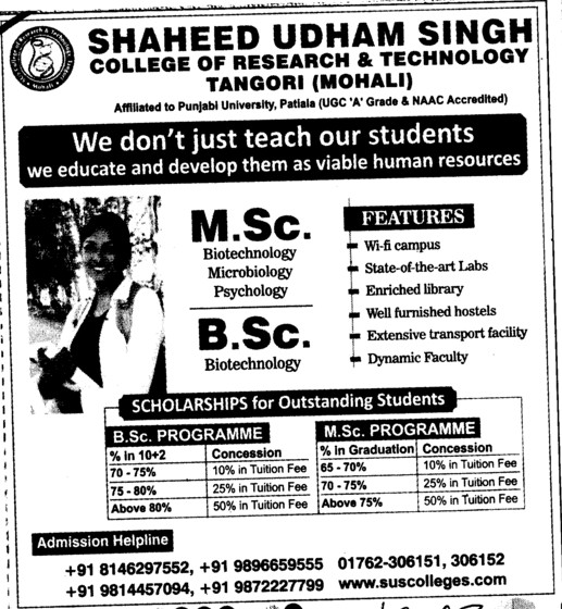 MSc and BSc in Biotechnology etc (Shaheed Udham Singh College of Research and Technology)