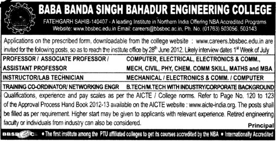 Prof, Asstt Prof and Associate Professor etc (Baba Banda Singh Bahadur Engineering College (BBSBEC))