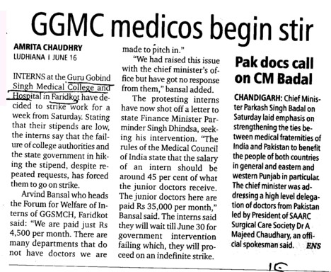 GGMC medicos begin stir (Guru Gobind Singh Medical College)