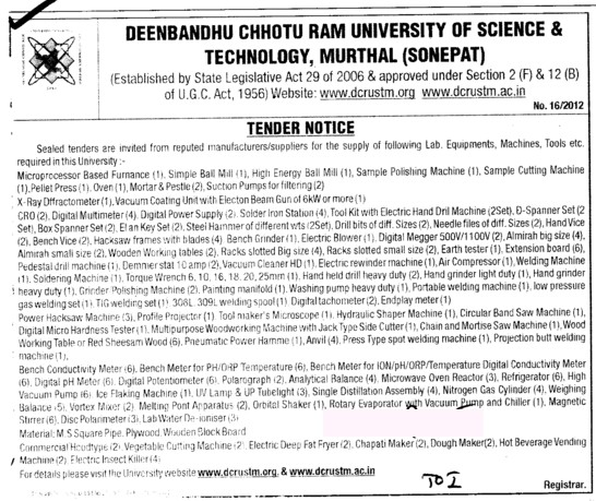 Lab Equipments etc (Deenbandhu Chhotu Ram University of Science and Technology)