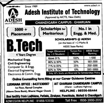 BTech Courses (Adesh Institute of Technology)