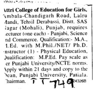 Instructors (Attri College of Education for Girls)