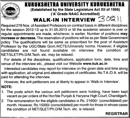 Asstt Professor on Contractual basis (Kurukshetra University)