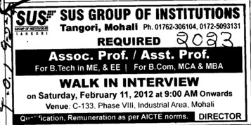 Asstt Professor and Associate Professor (SUS Group of Institutions)