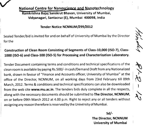 Const of clean room consisting of segments (University of Mumbai)