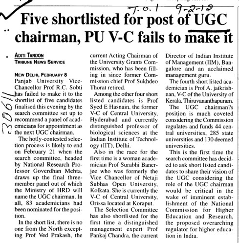 Five shortlisted for post of UGC chairman, PU VC fails to make it (University Grants Commission (UGC))
