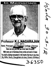 In memoriam Prof K L Nagarajan (DG Vaishnav College (Co-Education))