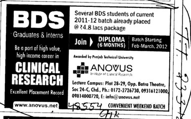 BDS in Clinical Research (Anovus Institute of Clinical Research)