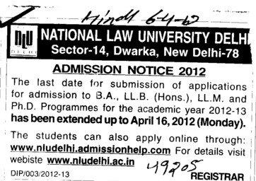 BA, LLB and LLM etc (National Law University)