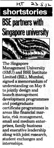 BSE partners with Singapore University (BSE Training Institute)