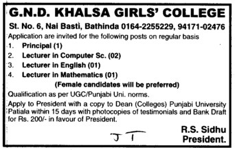 Principal and Lecturer etc (Guru Nanak Dev Khalsa Girls College)