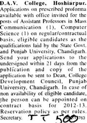 Asstt Professor in Mass Communication (DAV College)
