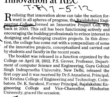 Innovation at REC (Rajalakshmi Engineering College)
