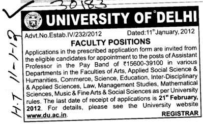 Asstt Professor (Delhi University)