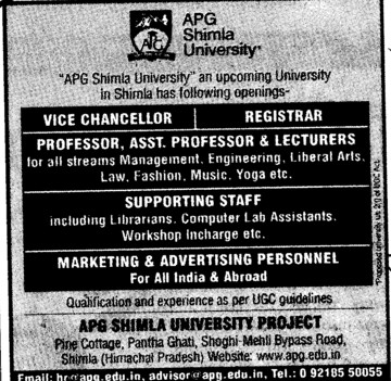 Prof, Asstt Prof, Associate Professor etc (APG Shimla University)