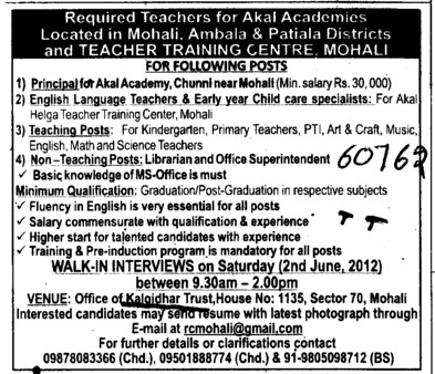 Principal, Librarian and Office Superintendent (Kalgidhar Trust Group)