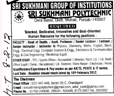 Asstt Professor, Sr Lecturer and Instructor etc (Sri Sukhmani Polytechnic)