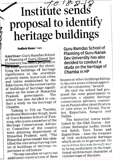 Institute sends proposal to identify heritage buildings (Guru Nanak Dev University (GNDU))