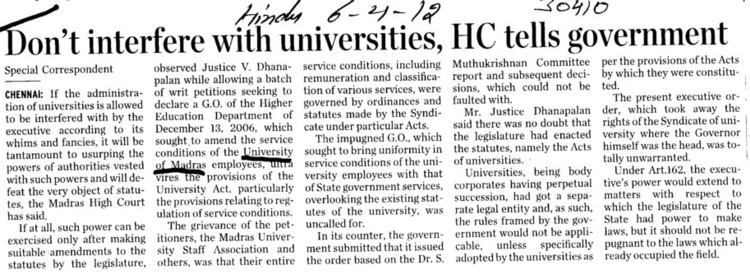 Dont interfere with universities, HC tells govt (University of Madras)