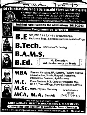 BE, BTech and BAMS Courses etc (Sri Chandrasekharendra Saraswathi Vishwa Mahavidyalaya Deemed University)