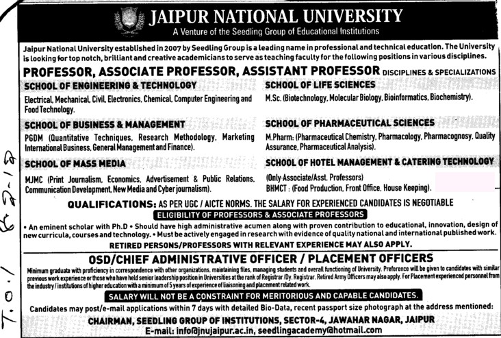 Prof, Asstt Prof and Associate Professor (Jaipur National University)