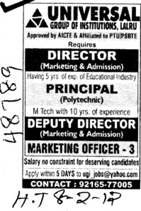 Principal and Director (Universal Group of Institutions)
