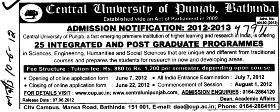 Post Graduate Programmes (Central University of Punjab)
