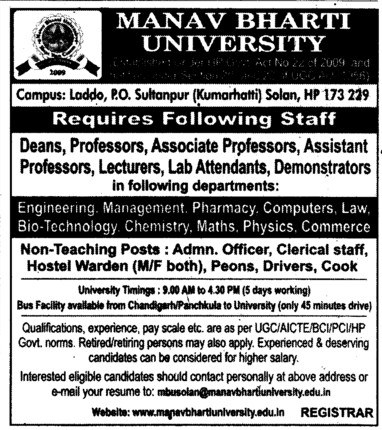 Prof, Asstt Prof and Associate Professor etc (Manav Bharti University (MBU))