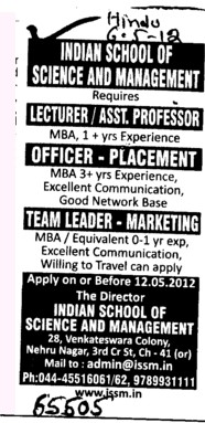 Lecturer and Asstt Professor etc (Indian School of Science and Management)