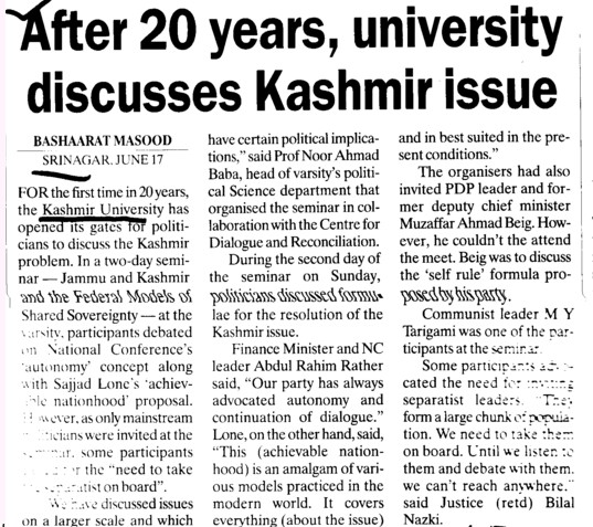 After 20 years, university discusses Kashmir issue (University of Kashmir Hazbartbal)