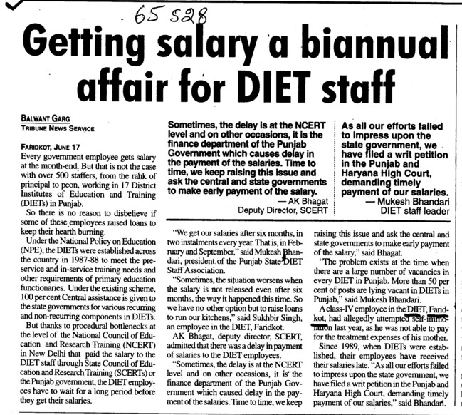 Getting salary a biannual affair for DIET staff (District Institute of Education and Training (DIET))
